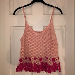 Free People Embroidered BOHO Crochet Crop Top